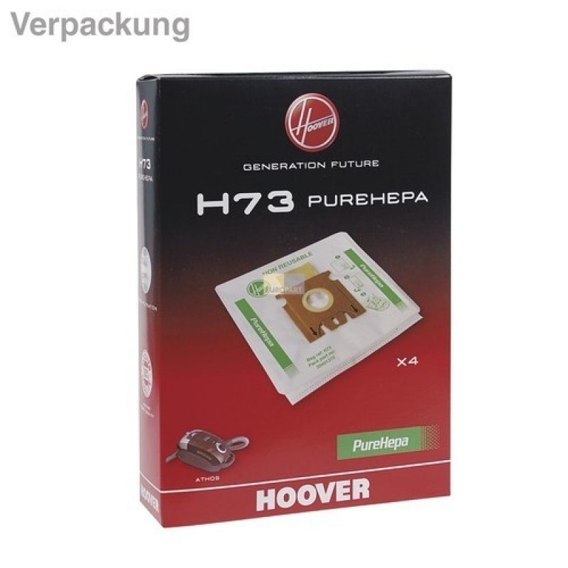 H 73 Nr. Hoover Vlies Staubsaugerbeutel H73-4 Stück Packung 35601375